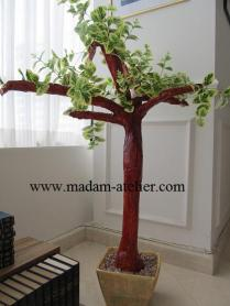 Árvore e cachepô de papelão